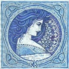 "Стъклокерамична мозайка ""Момиче"" в синьо, 200х200 cm"