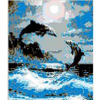 Стъклокерамично пано Игра на делфини