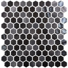 Мозайка стъклена, микс Hex Blend Black d31.75 mm