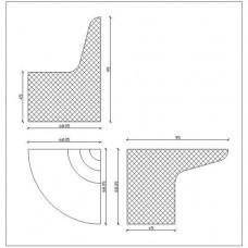 Модул завършващ за пейка наклонена за керамика - 1 десен