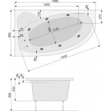 Хидромасажна вана Nimfa лява, система Economy 2, бяла, хром
