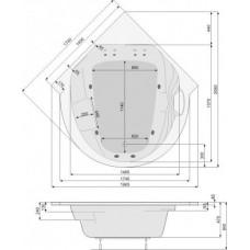 Хидромасажна вана Roma, система Titanium Sport, бяла, хром