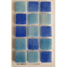 Мозайка стъклена микс Аквамарин 2.5 х 2.5 см