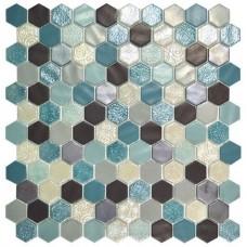 Стъклена мозайка микс Hex Blend Aquamarine d31.75 mm