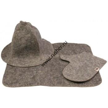 Комплект от шапка, ръкавица и килимче за  сауна, сив