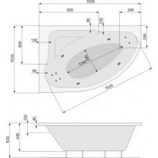Хидромасажна вана Klio 163х103, система PN2, бяла, хром, лява