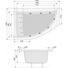 Хидромасажна вана Aquamarina, система Titanium Sport, бяла, хром, лява